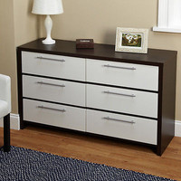 Six Drawer Chest Dresser Bed Room Wood Storage Drawers Furniture