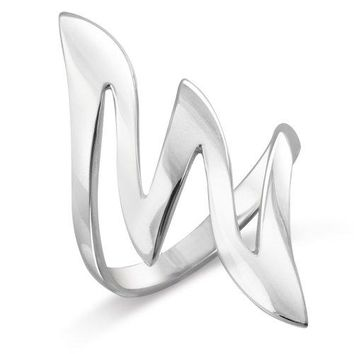 MIMI Sterling Silver Large 34 MM Modern Style Zigzag Wave Ring Size 5 6 7 8 9 10 11