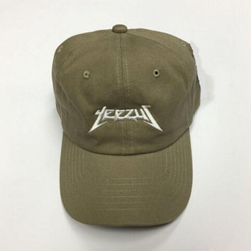 Unisex Embroidered Kanye West Hat Yeezus Baseball Cap Yeezy Tour 2016 - Khaki Green