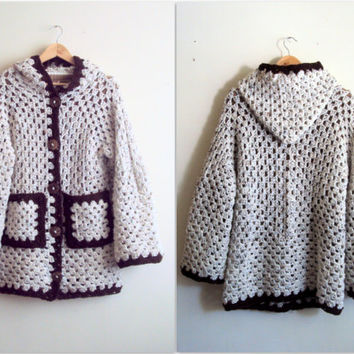 Hooded Cardigan Crochet Cardigan Oatmeal Afghan Jacket Granny Square Cardigan Chunky Knit Coat Festival Jacket Baby to Adult  Sizes