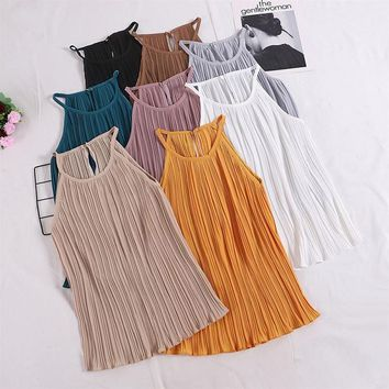 New Arrival Women Ruched Chiffon Striped Camis Tops Spaghetti Straps Casual Women Solid Color Tops Summer Style Camisole Tops