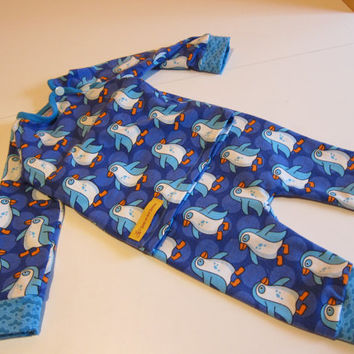Ecological Pajamas, Counting Pinguins, Organic Sleepware,  turquoise and blue two piece, US size 6mo