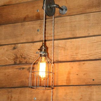 Pulley Wall Mount Light   Industrial Wall Sconce   Pendant Light On Aged Pulley Mount