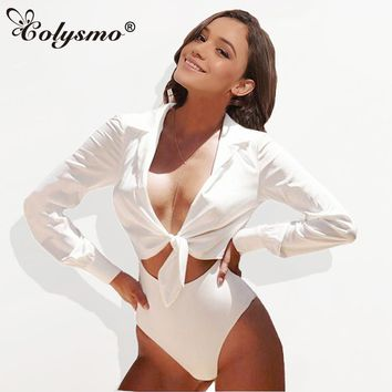 a4f0dcd02a4a Colysmo Sexy Suit Collar Long Sleeve Open Front Bow Tie Lurex Satin Silk Bodysuit  Women Romper