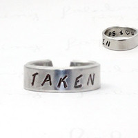 Taken Ring, with Message P.S. I Love You, Personalized Love Jewelry, Aluminum Unisex Ring, Boyfriend  Girlfriend Gift V2