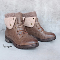 coolway - bring leather knit sweater cuff ankle boots (more colors)