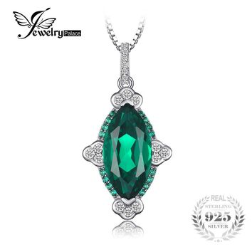 JewelryPalace Unique Design 10.32ct Created Emerald Women Pendant 925 Sterling Silver Vintage Fine Jewelry Not Include the Chain