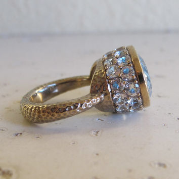 Hammered Oval Engagement Ring- Statement Ring- Wedding and Engagement- Promise Ring- Art Deco Ring- Vintage Ring- Rings for Her- Topaz Ring