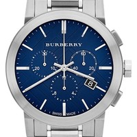Burberry Check Stamped Chronograph Bracelet Watch, 42mm - Silver/ Blue