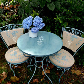 Vintage Bistro Set Patio Set French Country Custom Set Cottage Garden Table Chairs Ice Cream Parlor