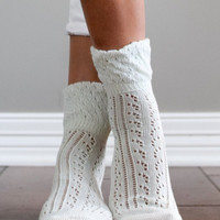 Ivory Quarter Socks by Boot Cuffs & Socks (set of 2)