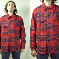 Vintage Pendleton Buffalo Plaid Mackinaw Wool Hunting Jacket