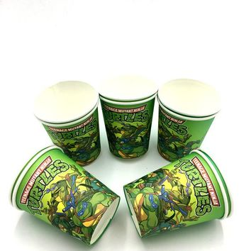 10pcs/lot Ninja Turtles paper cups baby shower party decoration Ninja Turtles cups glass Ninja theme birthday party supplies
