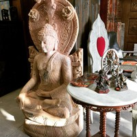 Garden Sculpture- Large Buddha Stone Statue Asian Art Patio Decor, Earth Touching Pose