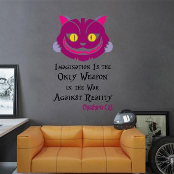 cik1541 Full Color Wall decal Alice in Wonderland Cheshire Cat quote bedroom children's room