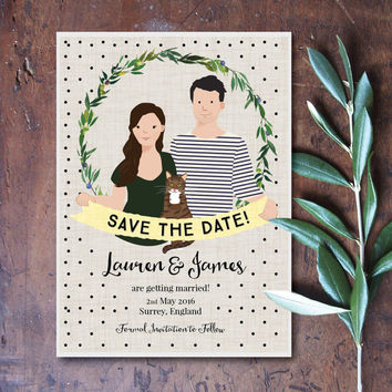 Custom Couple Portrait Custom Portrait Save The Date Card, personalized digital illustration Wedding Engagement Plus Free Card Printable