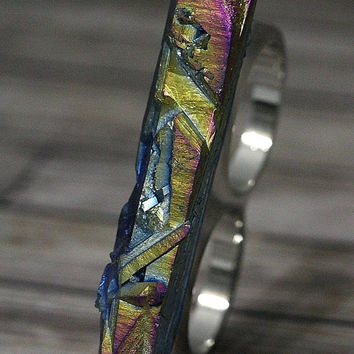 Rainbow Titanium Crystal Quartz Point Two Finger Ring Aurora Borealis Aura Silver Silver Size 5/6