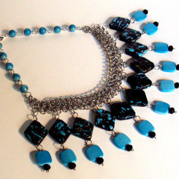turquoise collar necklace -  bauble necklace -  statement necklace - blue chainmaille necklace - blue bib necklace - blue necklace