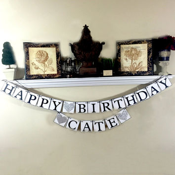 Happy Birthday Banner, Personalized Name Happy Birthday Banner, Birthday Decorations
