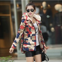 Women : Warm Winter Hodded Army Print Down Jacket YRB0388