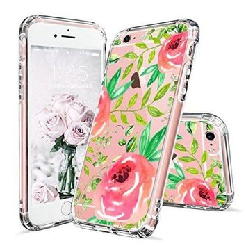 CREYV2S iPhone 6 Case, iPhone 6s Clear Case, MOSNOVO Red Roses Floral Flower Printed Clear Design Transparent Plastic Hard Back Case with Soft TPU Bumper Gel Protective Case Cover for iPhone 6 6s (4.7 Inch)