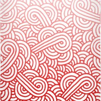 Gradient red and white swirls doodles Beach Towel