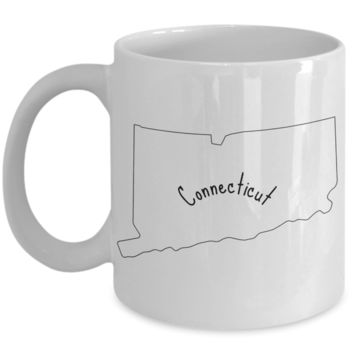 50 states series - Connecticut outline - coffee / hot chocolate / tea mug - 11 oz ceramic cup