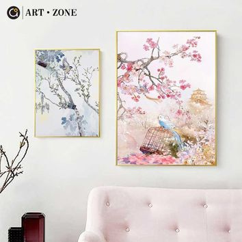 ART ZONE Modern Flower And Bird Canvas Painting Chinese Style 3D Print Wall Art Poster Living Room Bedroom Decor Painting
