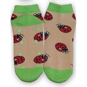 Ladybug Shorty Slipper Socks X Large