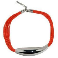 Necklace Stainless Steel Art Piece with 24 Waxed Cotton Orange Cords  40 cm  adjustable clasp
