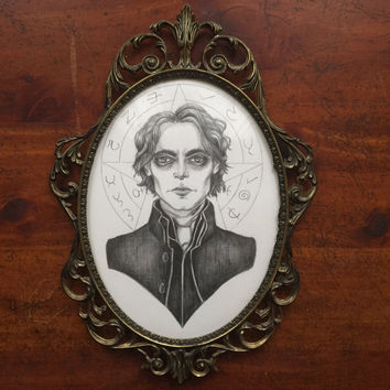 Ichabod Crane- Original Drawing in Antique Frame