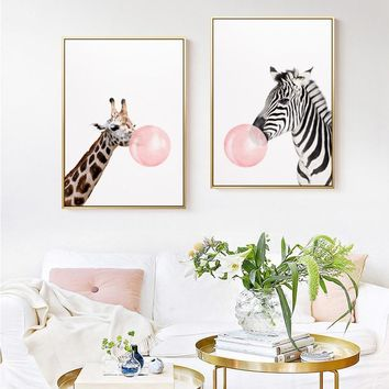 Nordic HD Cute Animals Blowing Bubble Pink Canvas Painting Posters And Print Wall Art Pictures For Living Room Kids Room Bedroom