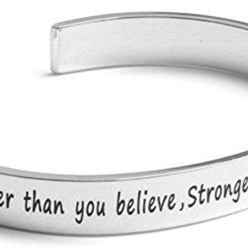 "AUGUAU Inspirational Silver Cuff Bracelet – Stamped ""You Are Braver & Stronger Than You Think"" Jewelry for Women, Teens, Girls – Motivational Quotes Mantra Band Bracelets – Perfect Gift"