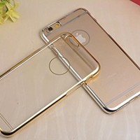 """BCL13 Aluminum Bumper Clear PC Back Cover Case (for iphone 6 5.5"""" plus, Gold)"""