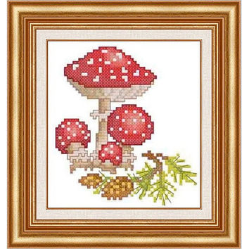 Mushrooms - PDF Cross Stitch Pattern - INSTANT DOWNLOAD