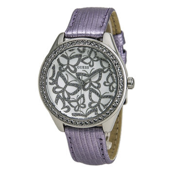 Guess U0308L1 Women's White Dial Interchangeable Purple Leather Strap Watch