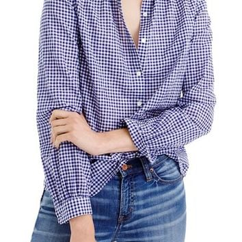 J.Crew Gathered Gingham Popover Shirt (Regular & Petite) | Nordstrom