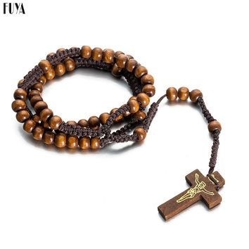 High Quality Fashion Religious Chinese Knot Wood Beads DIY Necklaces For Men Women Jesus Christ Cross Pendant Long Chain Jewelry