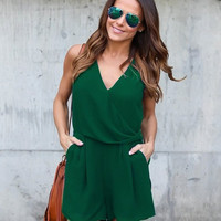 Women's Hunter Green Super Cute V-Neck Shorts Romper Shorts Set with Pockets