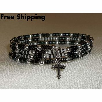 Delicate Black-Green & Cream Preciosa Glass Beaded Artisan Crafted Silver Wrap Bracelet (S-M)