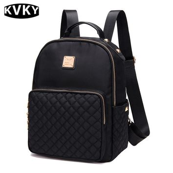 KVKY 2017 New Ladies backpack Korean fashion all-match simple nylon canvas bag Oxford Academy
