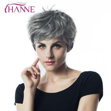 ESBONT HANNE Short Haircut 1B Light Grey Mixed Color HighTemperature Fiber Synthetic Hair Wig Natural Wave Wigs For Black African Women