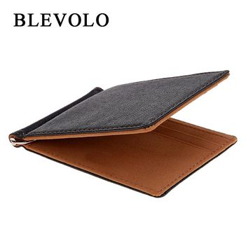 Men vegan leather Wallet ID card slots and money clip for men