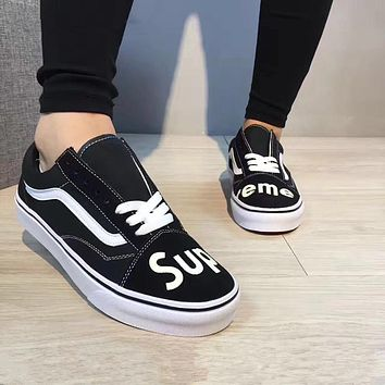 VANS Supreme  Men and Women shoes Low belted canvas shoes