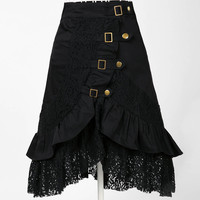 Goth , Punk , Steampunk Womens Skirt with Lace and Buckle Accents