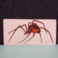 Black Widow Spider Vintage Flash Card Insect Color Illustration Arachnid Entomology Paper Ephemera Art Decor Nature Bug Collage Craft Supply