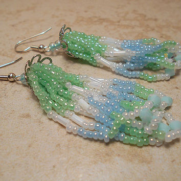 Long Opalescent Mint Green and Blue Handmade Seed Bead Earrings Tassel Chandelier Dangle Beadwork Made with Swarovski Crystals Modern Boho