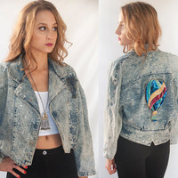 80s Jean Jacket w/ Sequins Hot Air Balloon S M L | Kitsch 90s Rocker Sequined Cropped Denim Novelty Jacket | Rhinestones Coat Big Shoulders