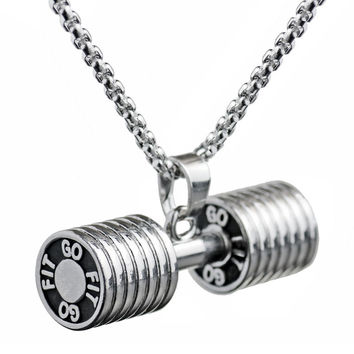 Men Stainless Steel Pendant Dumbbell Necklace Sporty Jewelry Fitness Fashion Gym Cloth Accessories Barbell Bodybuliding Jewelry