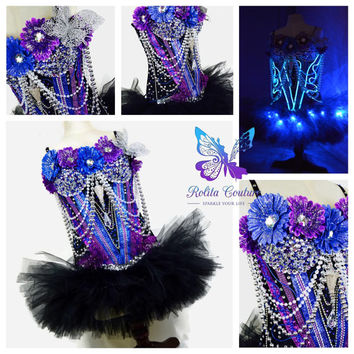 Blue El wire over black corset edc / raving / tomorrowland / ballet / tutu